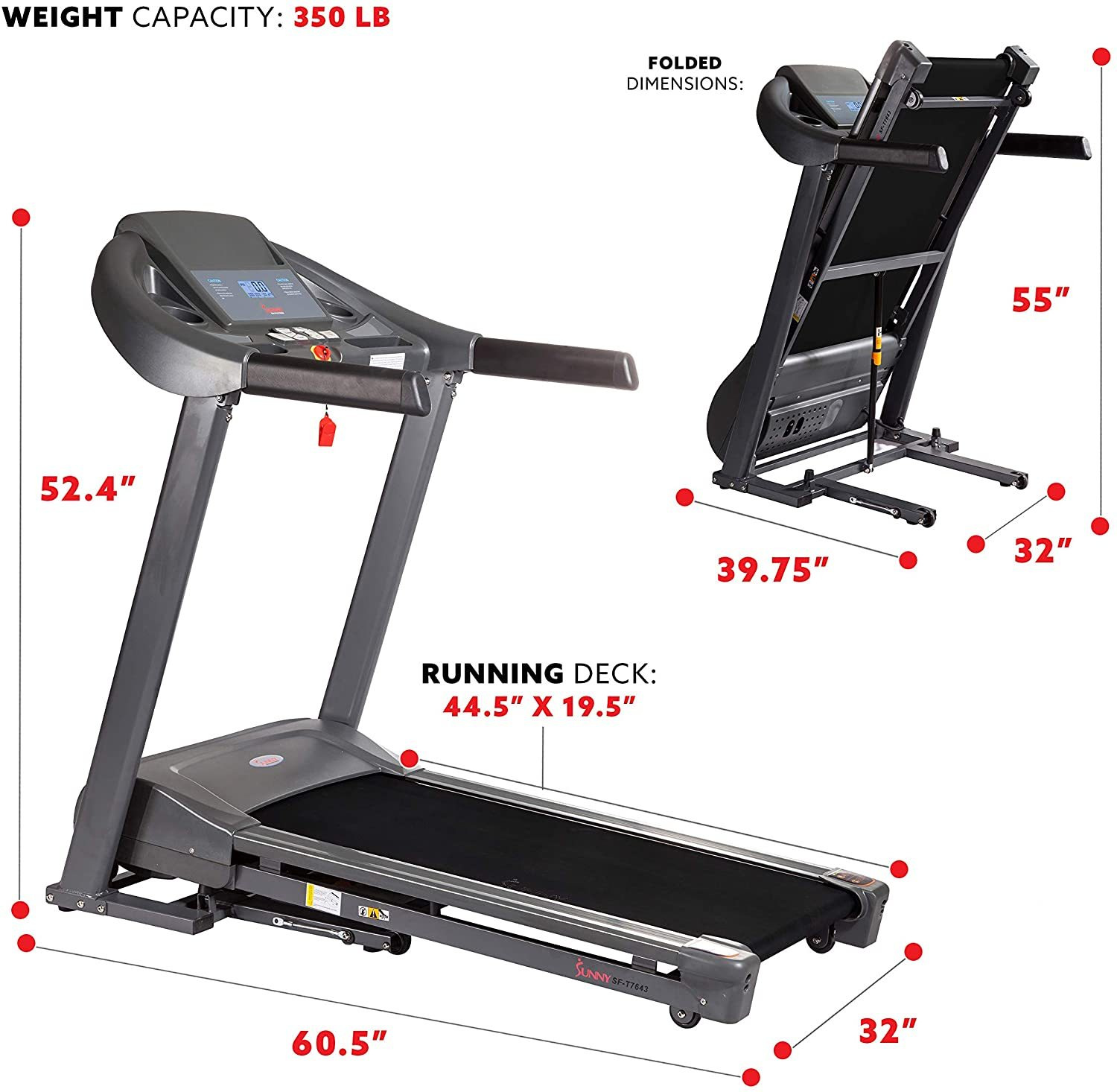 T7643 Heavy Duty Walking Treadmill with 350 lb High Weight Capacity, Wide Walking Area and Folding for Storage