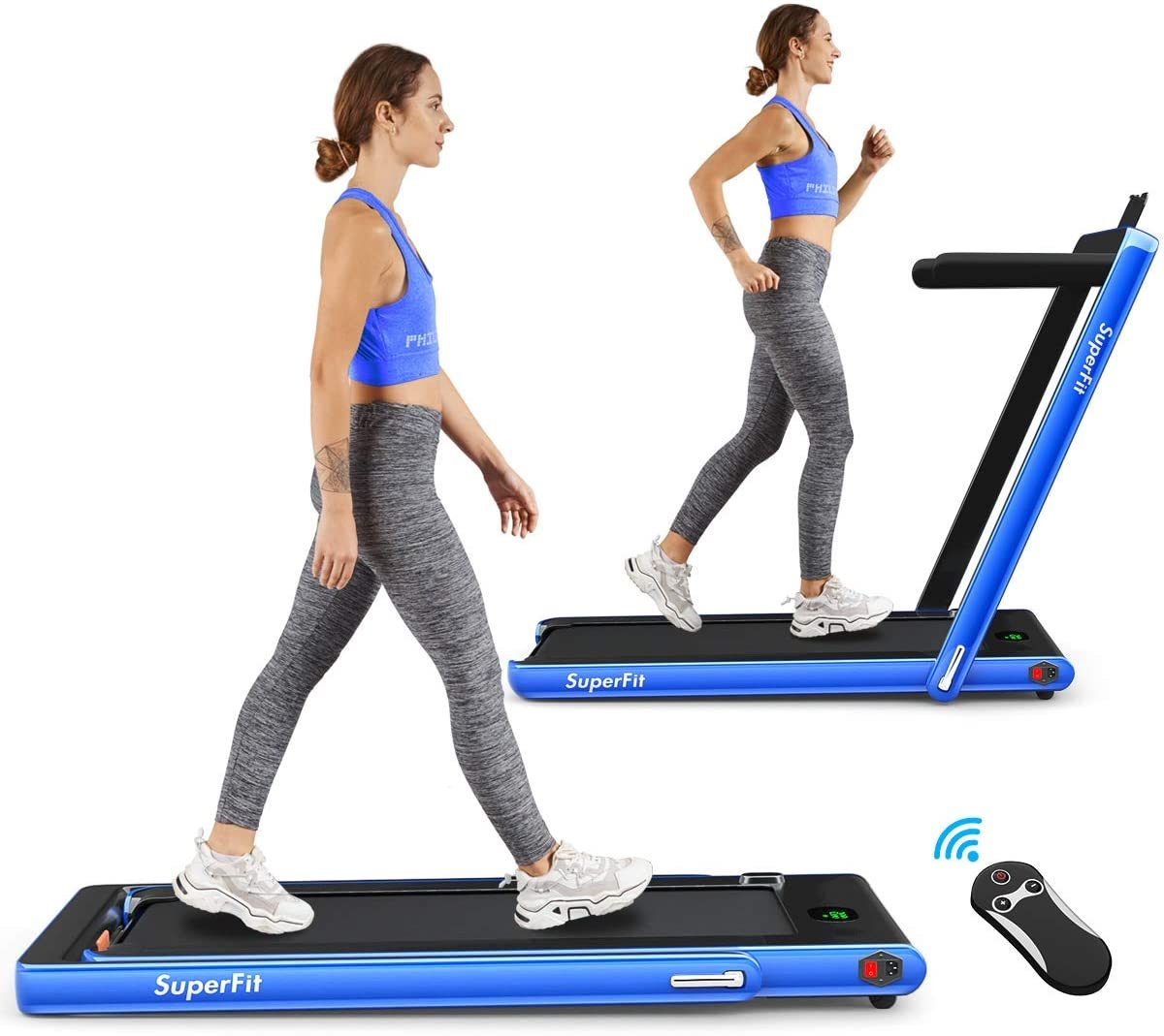 2 in 1 Folding Treadmill, 2.25HP Under Desk Electric Treadmill, Installation-Free, with Bluetooth Speaker, Remote Control and LED Display, Walking Jogging Machine for Home/Office Use