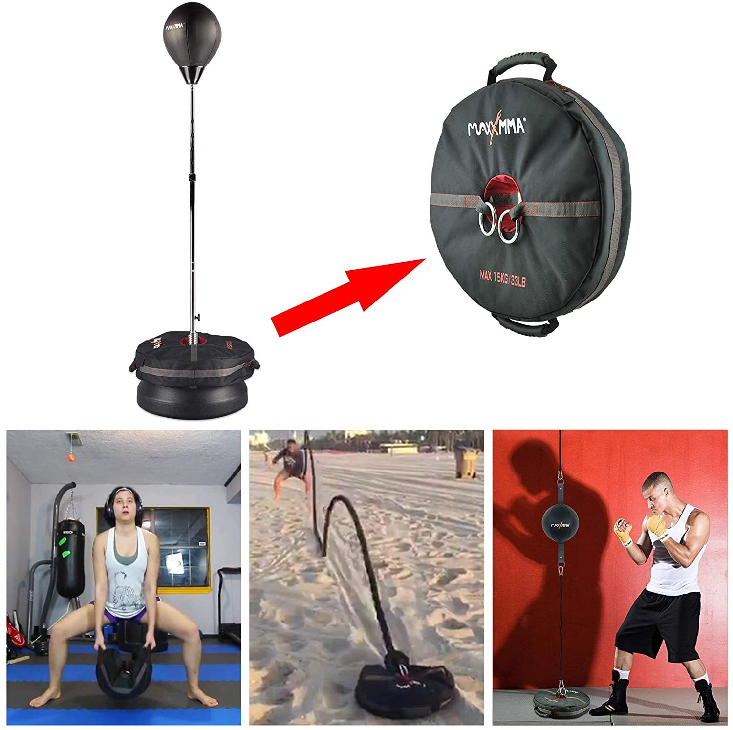 Speed-Adjustable Freestanding Reflex Bag Core Training Weight Bag Multifunctional 3-in-1