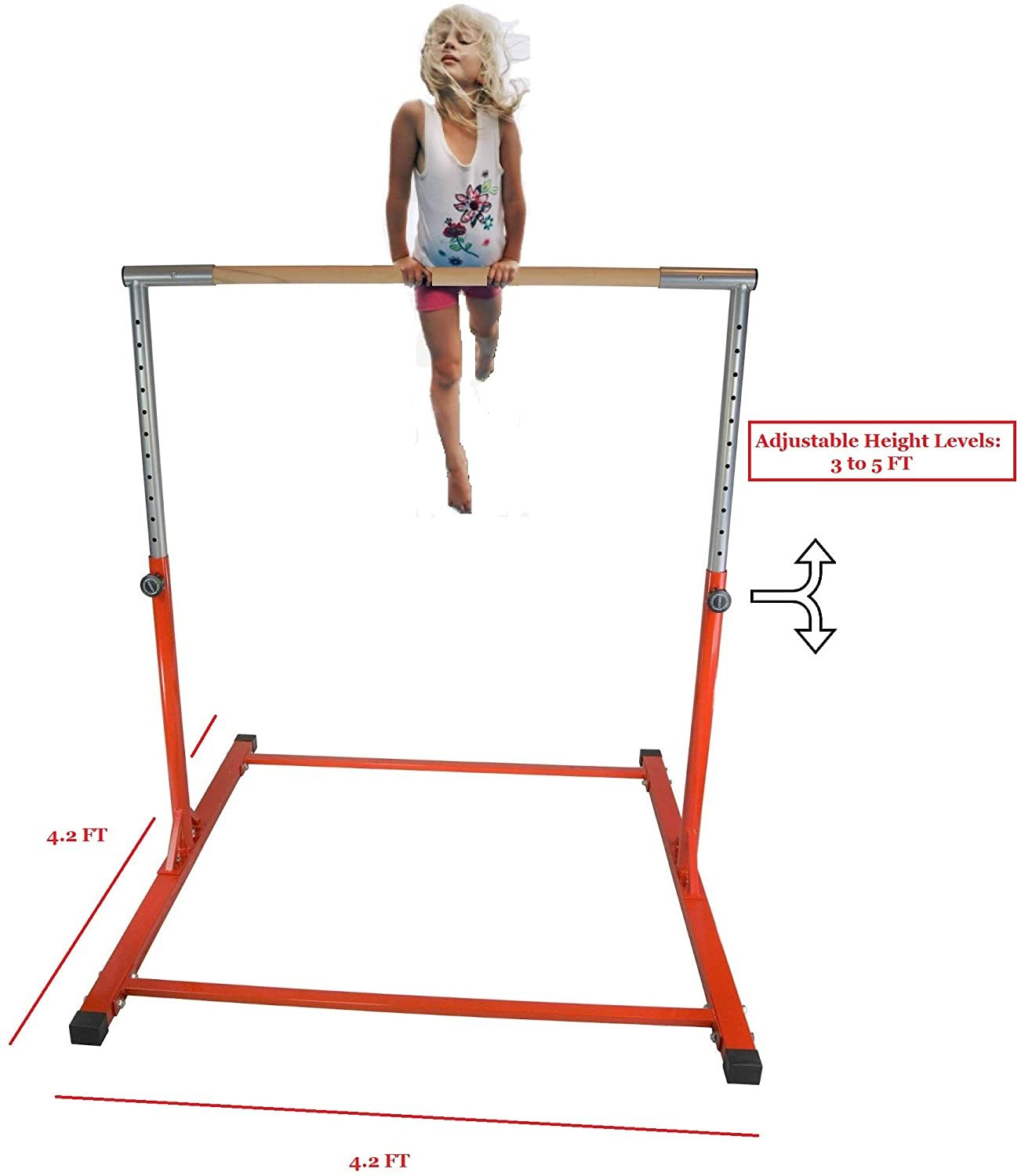 Kids Kip Bar Jungle Gym Professional Horizontal Gymnastics Asymmetric Bar Height Adjustable Expandable 3 to 5 FT Red