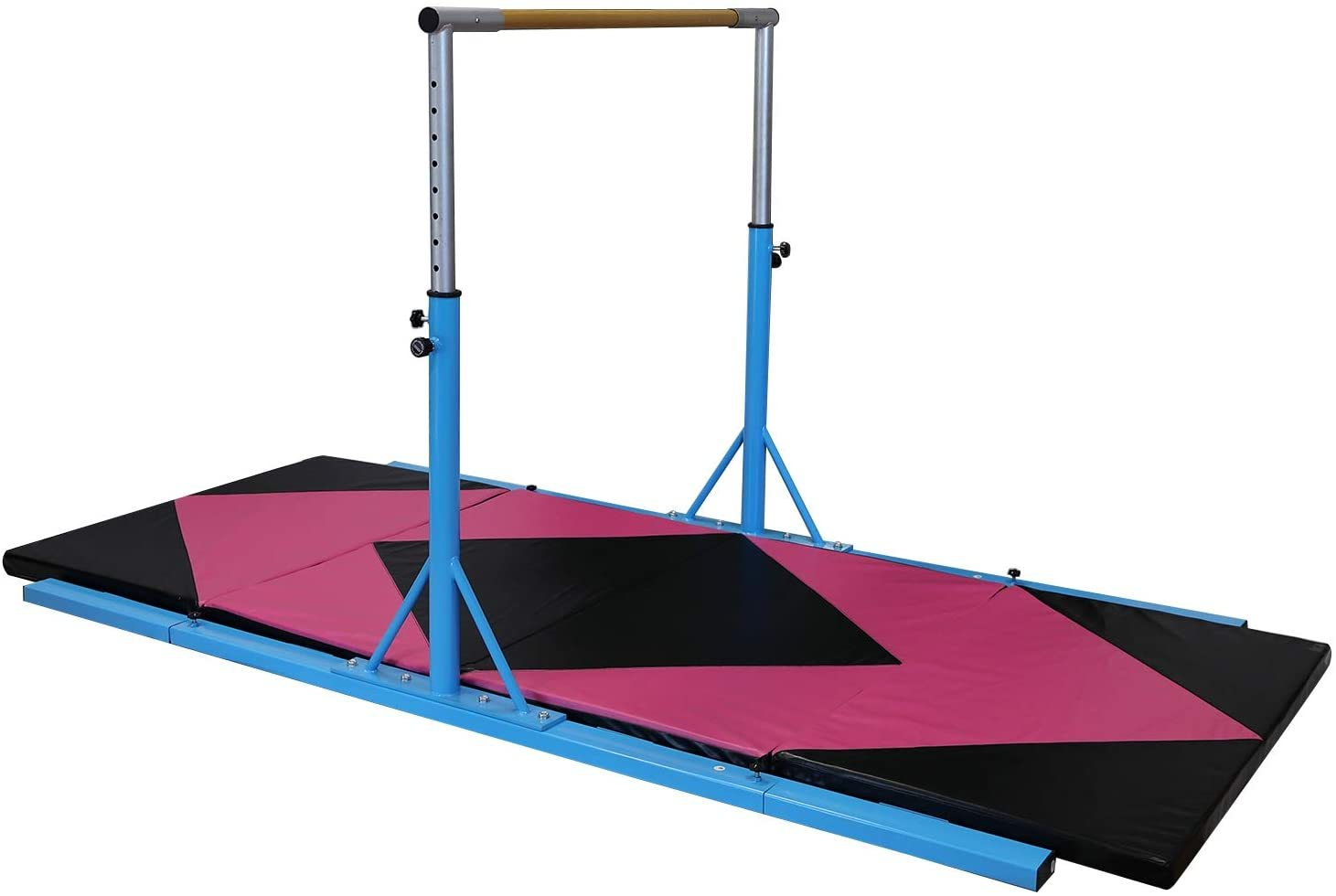Gymnastics Horizontal Bar Height Adjustable Blue