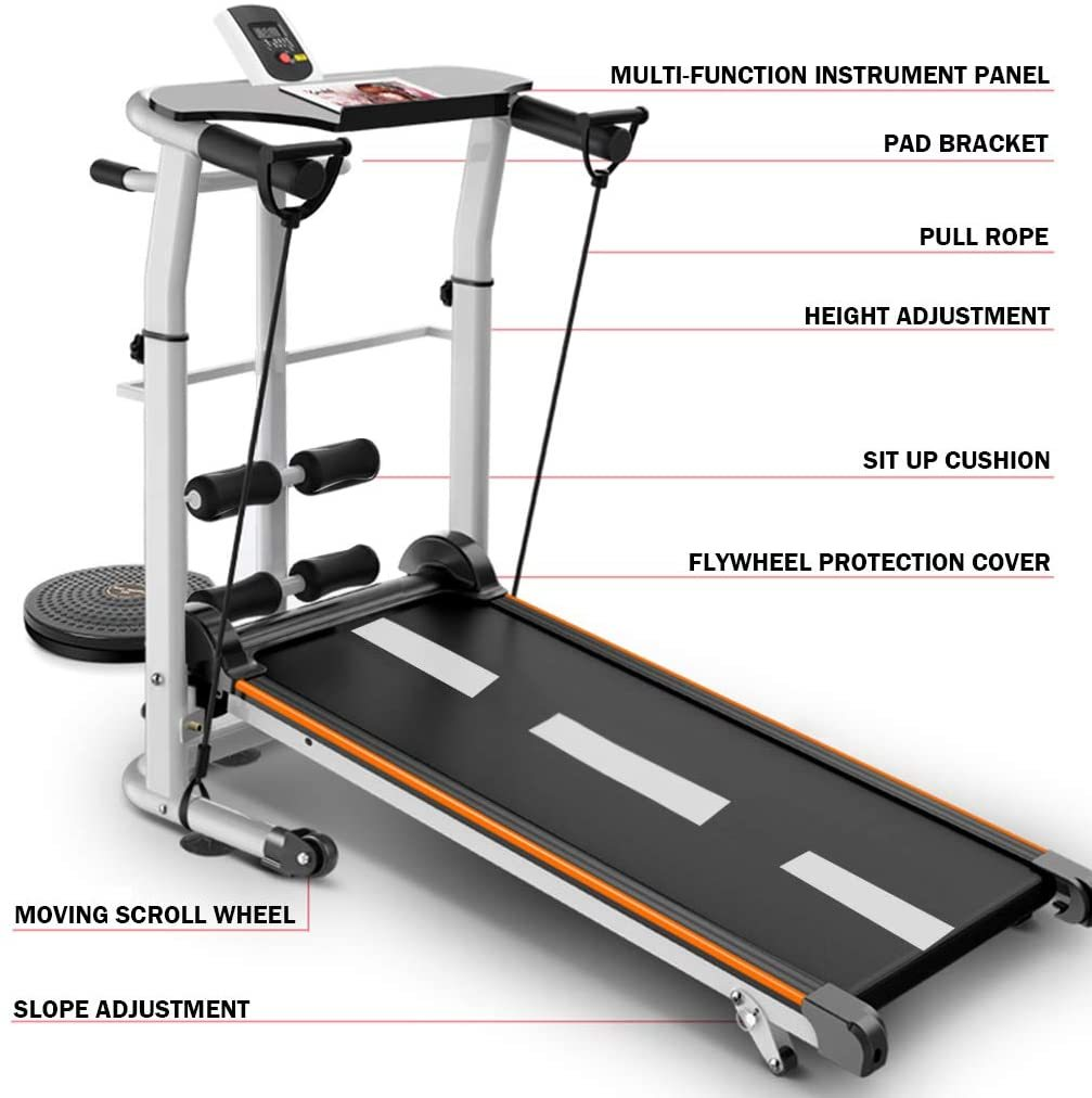 4-in-1 Mechanical Treadmill, with Mechanical Treadmill, Sit-ups Pannel, T-wisting Machine, Draw Rope Mechanical and Massage Wheel LED Display Folded Mechanical Treadmill, with Tablet Stand.