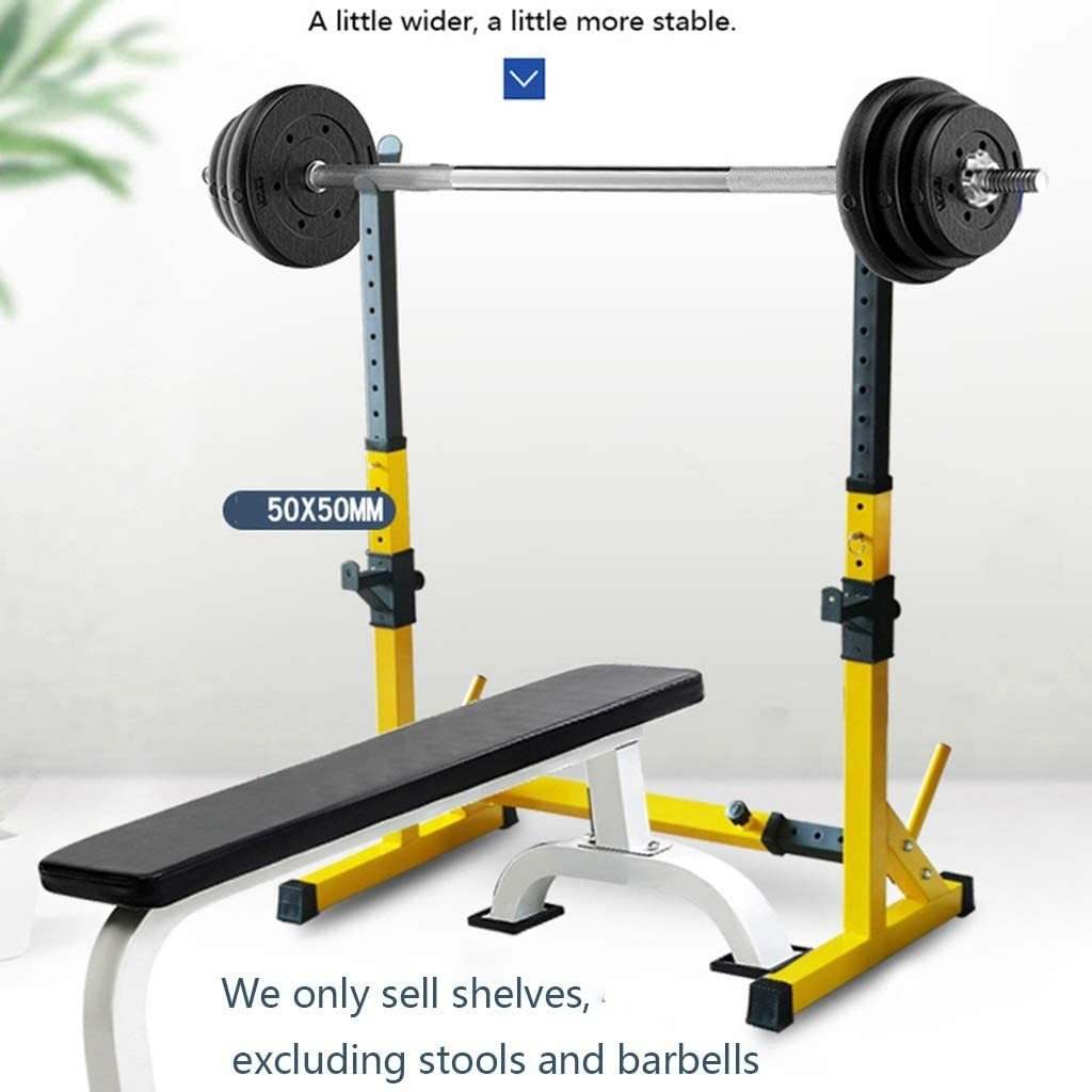 rack Bench Press Multifunctional shelf Adjustable bracket Home indoor gym Strength training stand Men's fitness barbell rack Squat rack ( Color : Yellow , Size : (83~119)56(81~131)cm )