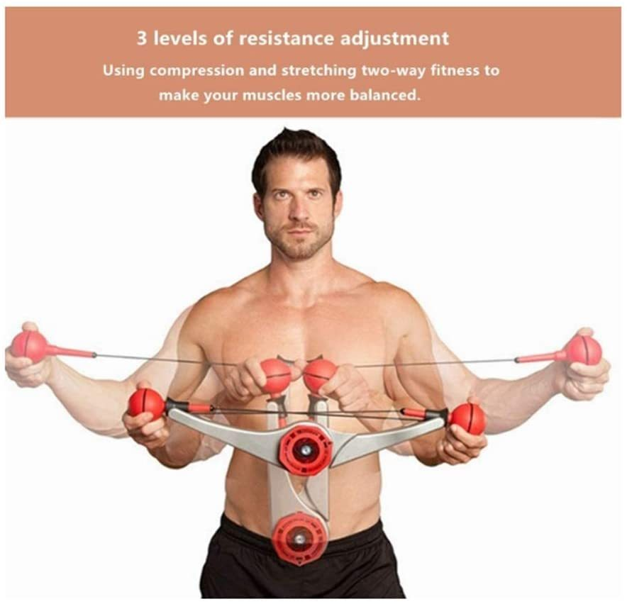 Power Twister Adjustable Resistance Forearm Exerciser Chest Expander for Arm Biceps Abdomen Shoulder Chest Muscle Strength Training