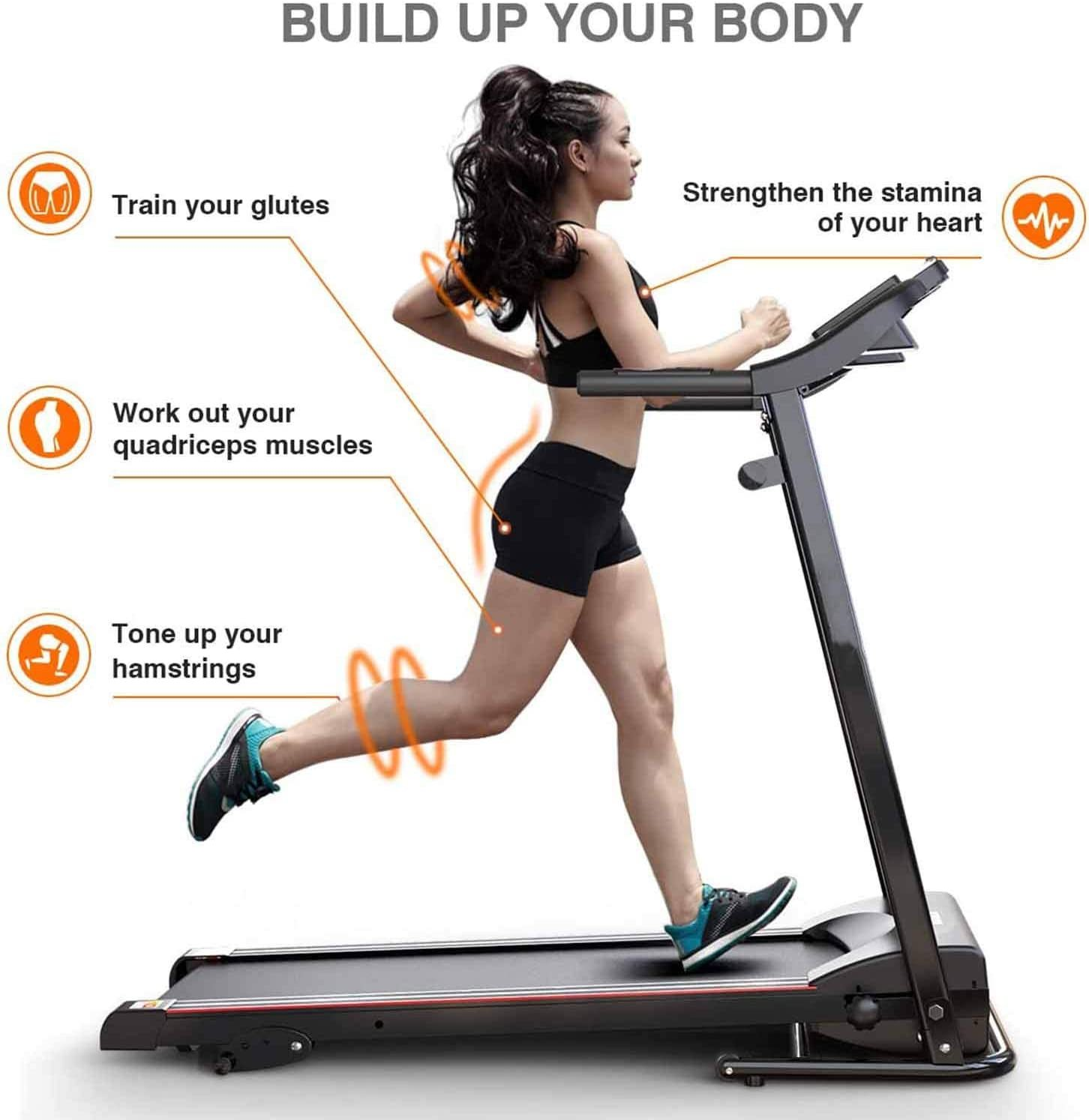 Treadmills for Home Folding Electric Motorized Running Machine LED Display Safety Key 12 Preset Programs Exercise Fitness Trainer Equipment Gym Office