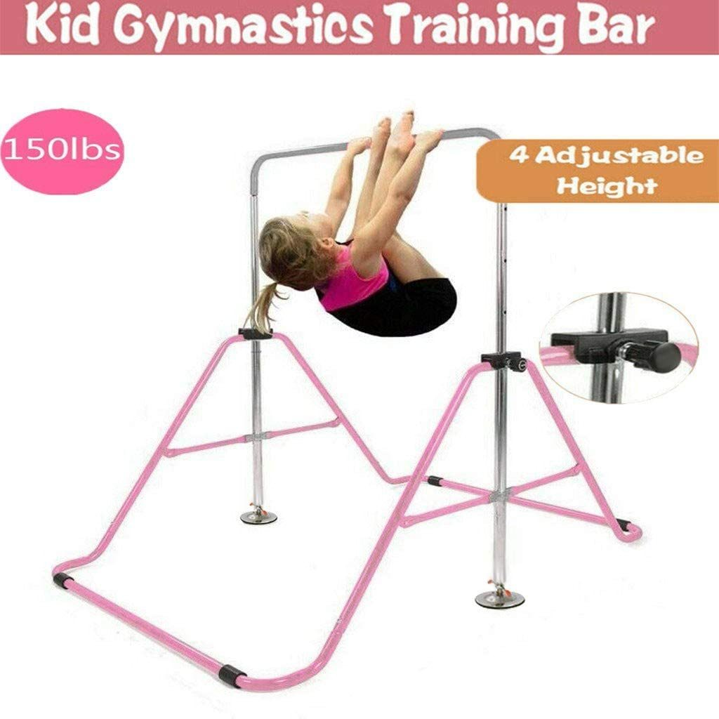 Gymnastics Horizontal Bar Kids Training Bars Expandable Gymnastic Pink