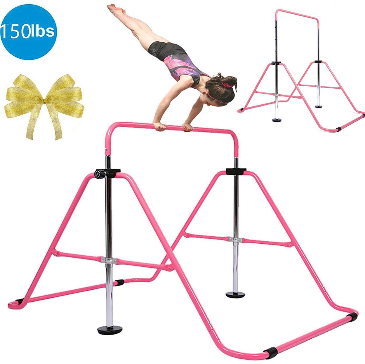 Gymanstic Bar Kids Home Grip Training Boys Girls Gift Set,Gymnastics Training bar Folding Adjustable Height Expandable Horizontal Bars Junior for Age 3-8 Years Old