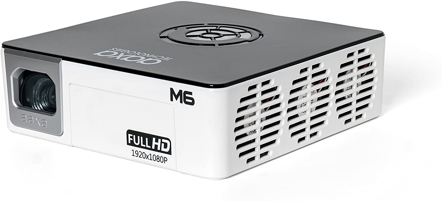M6 Full HD Micro LED Projector with Built-in Battery - Native 1920 x 1080p FHD Resolution, 1200 Lumens, 30,000 Hour LEDs, Onboard Media Player, Business/Home Theater Use