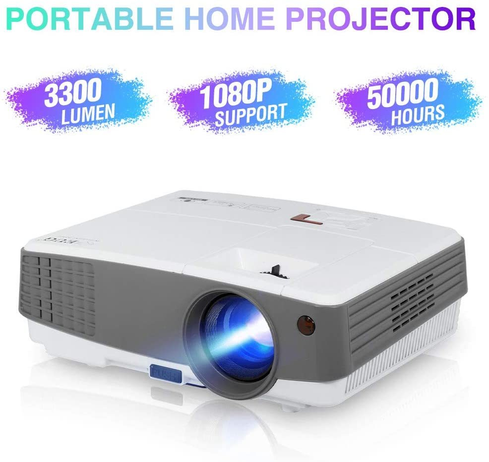 Movie Projector HDMI USB Full HD Supported,Large Display LED LCD Video Projector Compatible with Home Theater TV Box Blu-ray/DVD Player iPhone Laptop PS4 Roku Stick Build in Speaker