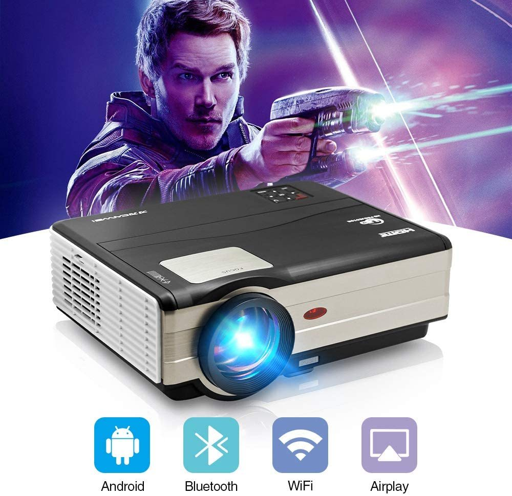 Portable Mini Wifi Projector Smart Android Projector Support 1080P HDMI USB AV Wireless Screen Mirroring,Small Pocket Movie Proyector Compatible with Smartphone Laptop Tablet PC PS4 DVD Player