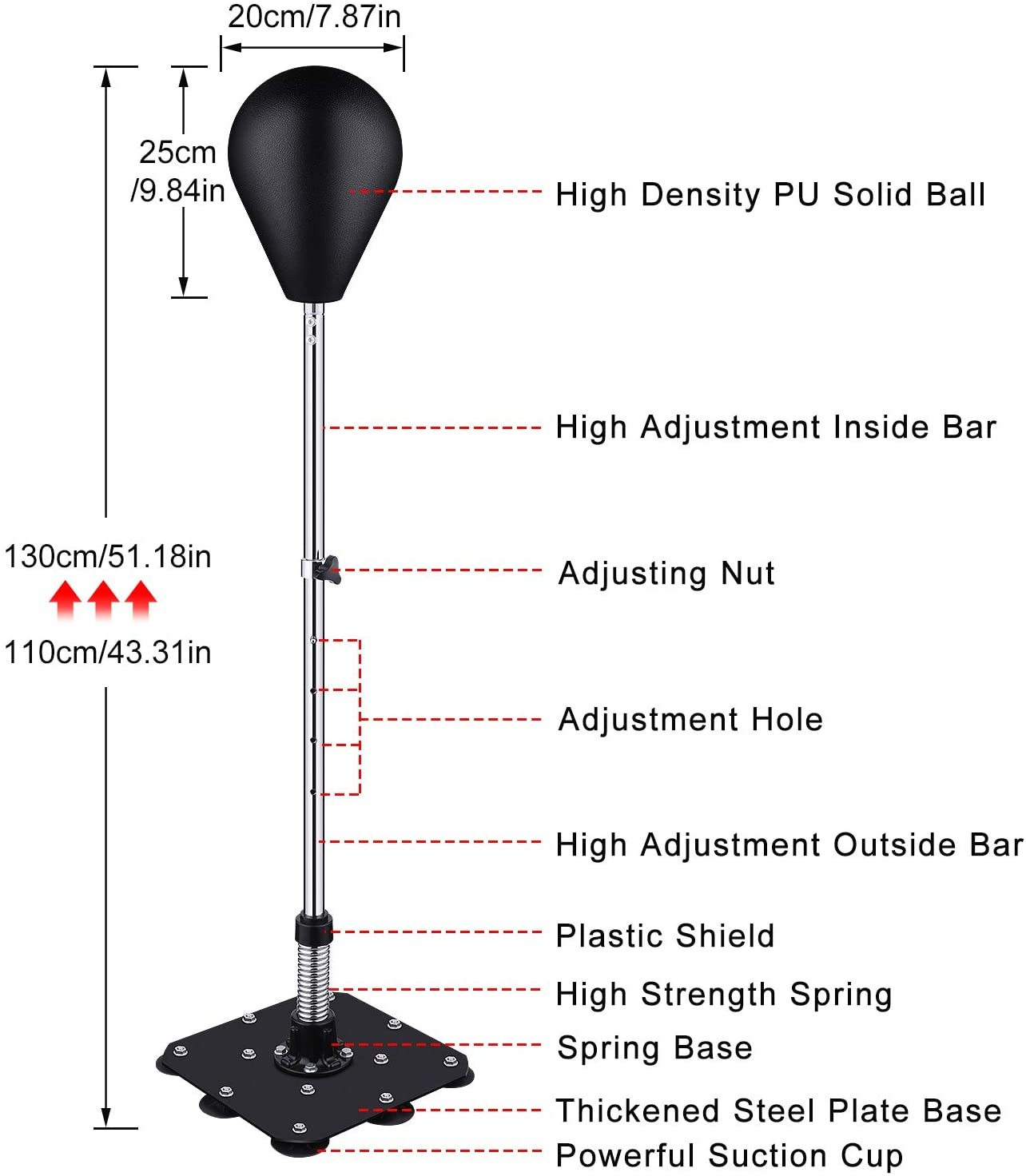 Punching Bag Reflex Boxing Bag Freestanding Punching Ball with Stand Speed Bag Adjustable Height for Adults & Kids