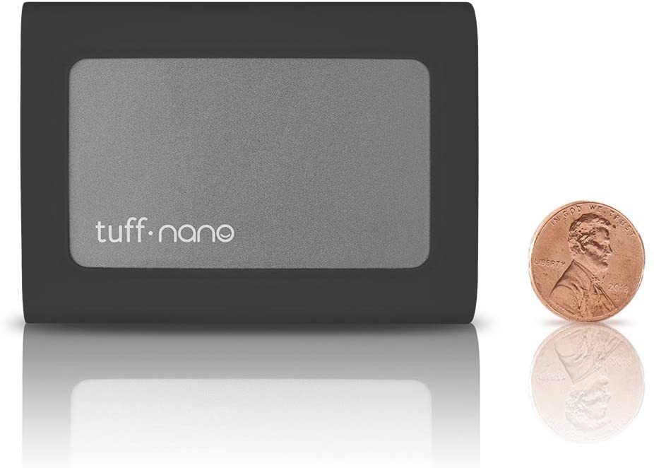 Tuff Nano - Compact Rugged IP67 USB-C 3.2 Gen 2 10Gb/s External NVME SSD, Compatible with Thunderbolt 3 Mac and PC, Up to 1055MB/s (1TB, Charcoal Black)