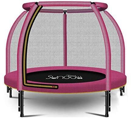Mini Round Trampoline Kids,Foldable Indoor Trampoline,Gym Rebounder with Enclosure Net Safety Pad Jumping Workout