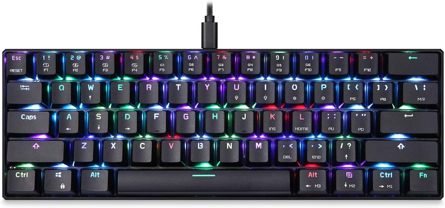 CK61 60% Mechanical Keyboard Portable 61 Keys RGB LED Backlit Type-C USB Wired Office/Gaming Keyboard for Mac, Android, Windows(Red Switch)