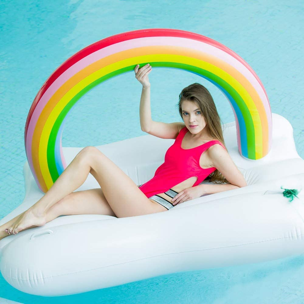 Pool Floats Inflatable,Multi-Purpose Inflatable Hammock Inflatable Floating  Row Rainbow Island Floating Exhaust Cushion Inflatable Adult Water Floating  Lounge Chair Ring Mount
