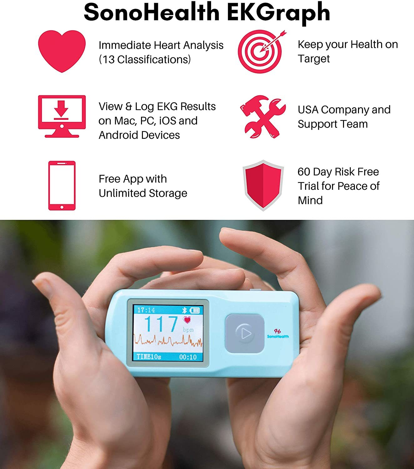 Portable EKG Heart Rate Monitor | Wireless Handheld Home ECG Cardio & Electrocardiogram Machine | Biofeedback Finger & Chest Leads View Irregular Cardiac Arrhythmia Vitals on a Mobile Phone