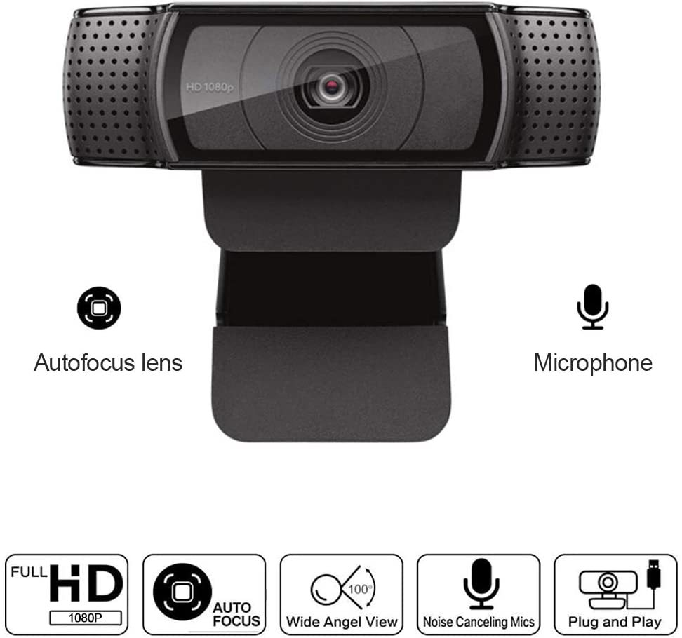 1080P high-Definition Webcam with Dual Microphones, C920 Webcam for Gaming Meetings, Portable or Desktop Webcam, USB Computer Camera, Free Drive Installation and Fast autofocus