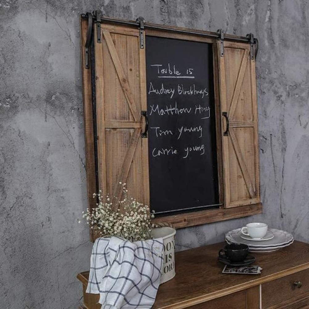 Children's Easel Message Board Chalkboards Multifunction Industrial Wind Retro Ironwood False Window Wall Mount Smooth Track Erasable (Color : Wood, Size : 80x81cm) Drawing Blackboard