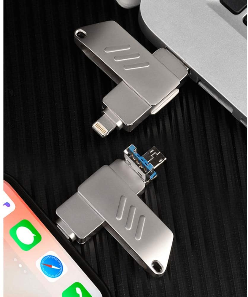 Metal Blade Mobile Phone U Disk, OTG Three-in-one high-Speed 3.0 Creative USB Flash Drive, Multi-Function USB Flash Drive (2 PCS),256gb