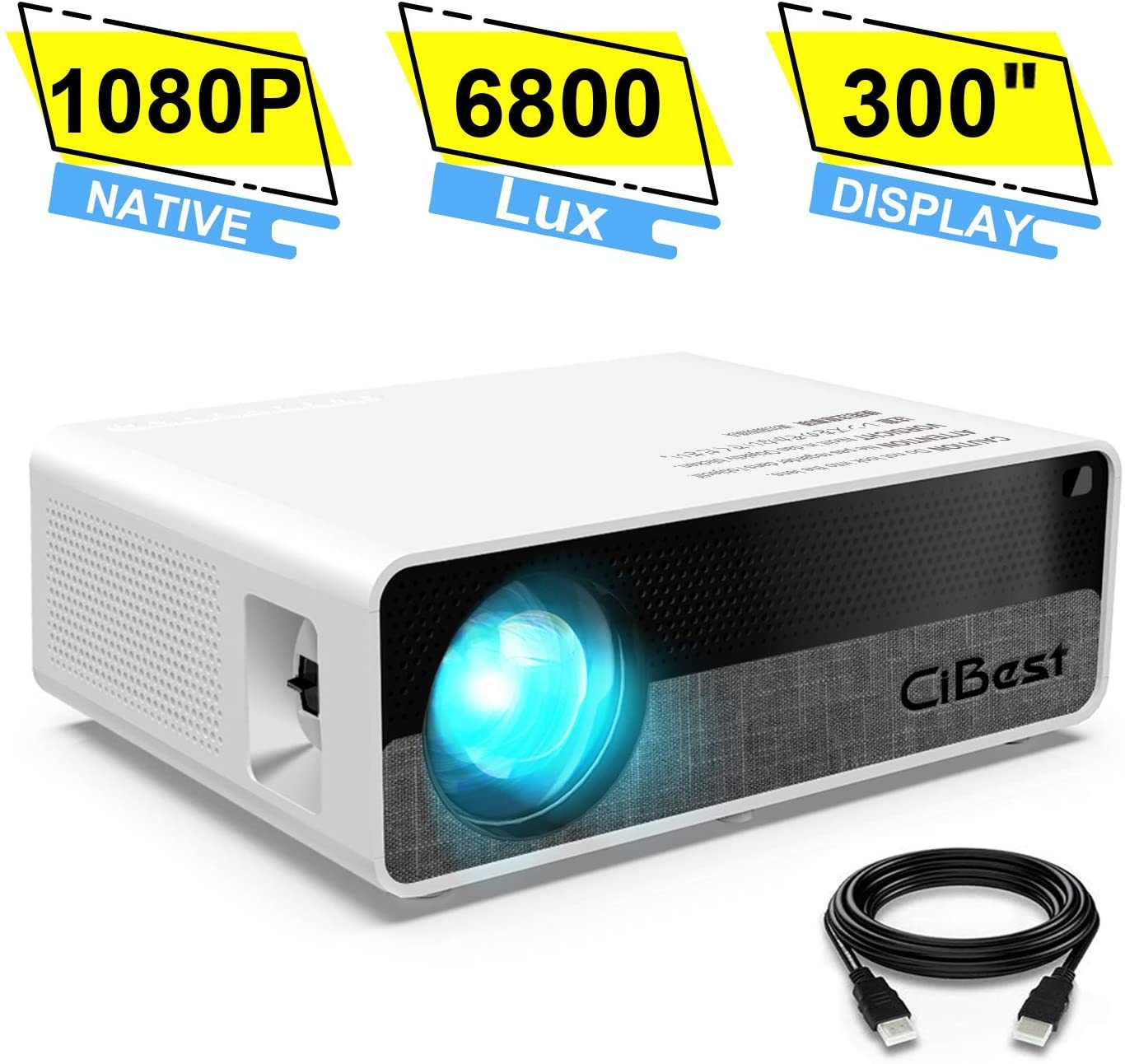 "Projector,CiBest Q9 Native 1080P HD Video Projector 6800 Lux, up to 300"" Image 2K Supported,Display Ideal for PPT Business Presentations Home Theater Entertainment Parties Games"