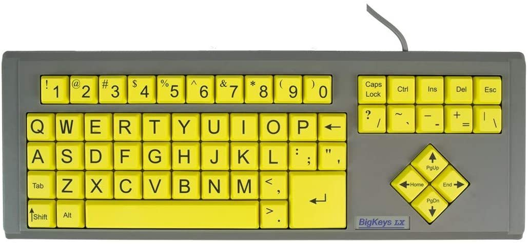 BigKeys LX - Yellow, QWERTY Large Print Computer Keyboard USB Wired - Product Number: 12000012