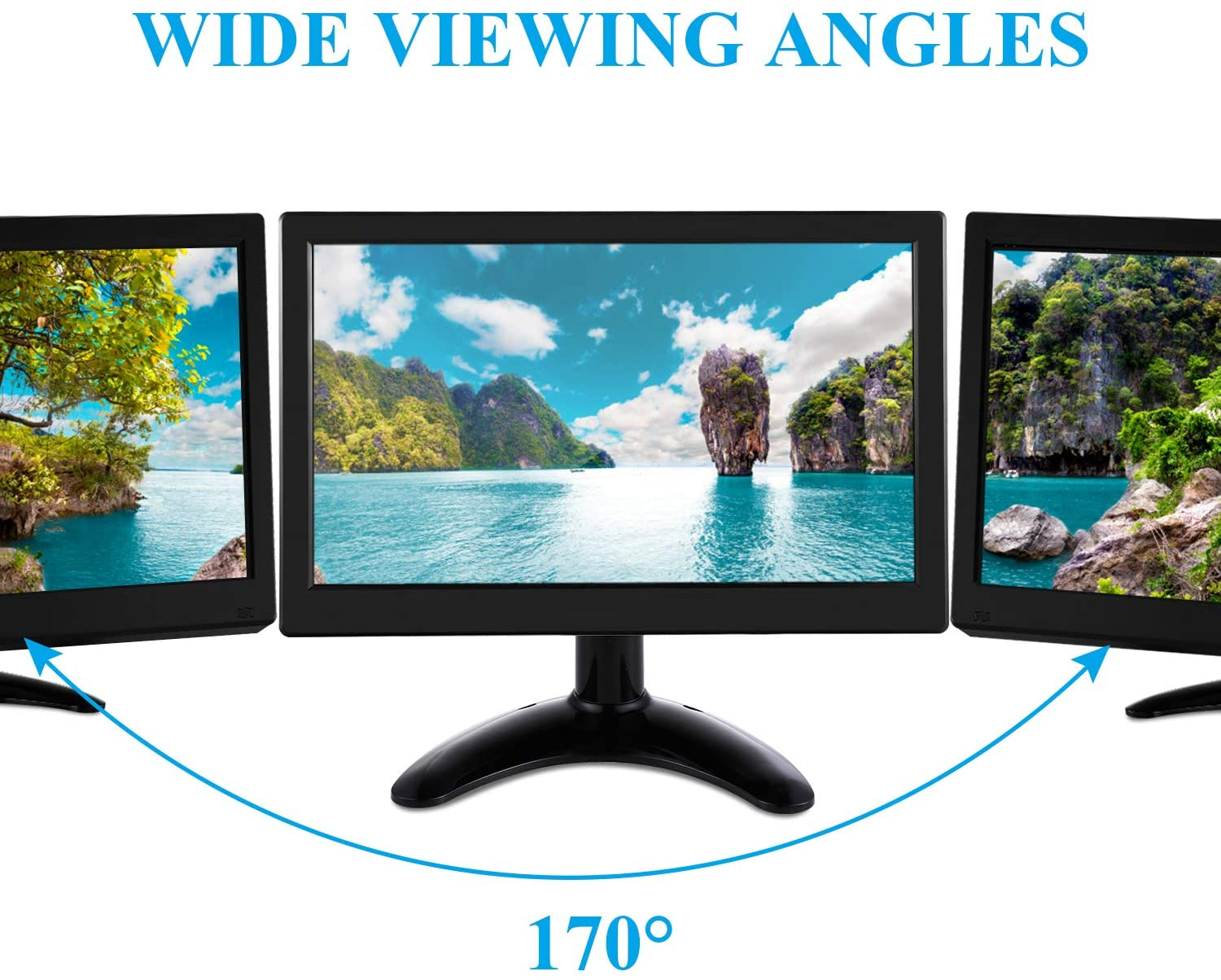 11.6 Inches 1920x1080 Full HD RGB TFT LCD IPS Wide Viewing Angle Display Screen Video Monitor MP5 Player CCTV Monitor Security Monitor with Speaker & Remote & AV / VGA / HDMI / BNC / USB Input