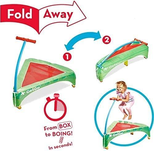 Foldaway Mini Trampoline for Kids. Folding Indoor Toddler Jumping Toy with Handle, 36""