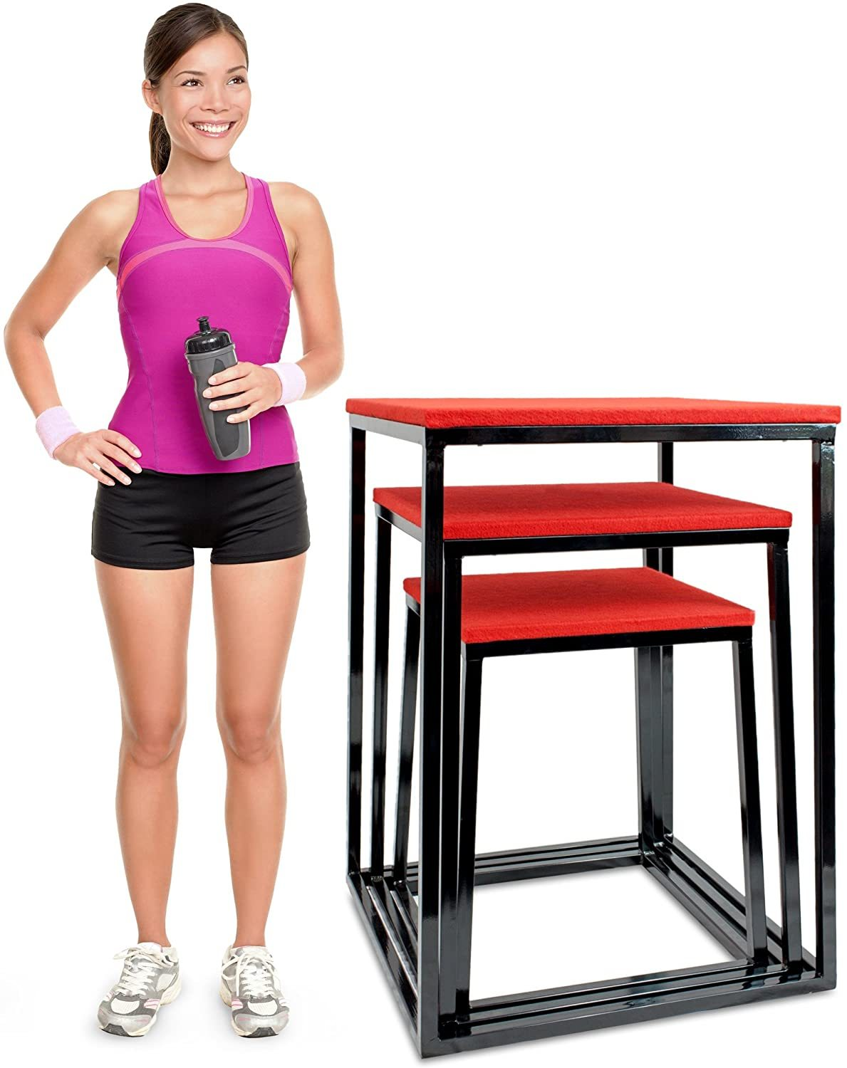 "Set of 3 Plyometric Jump Boxes – Step Platform, Fitness Training & Conditioning Equipment for Increasing Vertical, Speed, Stamina (24""/30""/36"")"