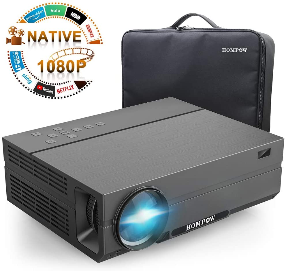 Hompow 2020 Upgraded Native 1080P Video Projector 5500Lux 80,000 Hours Led for PPT Business Presentations Home Theater Compatible with TV Stick/HDMI/VGA/USB/TV Box/Laptop/DVD/PS4