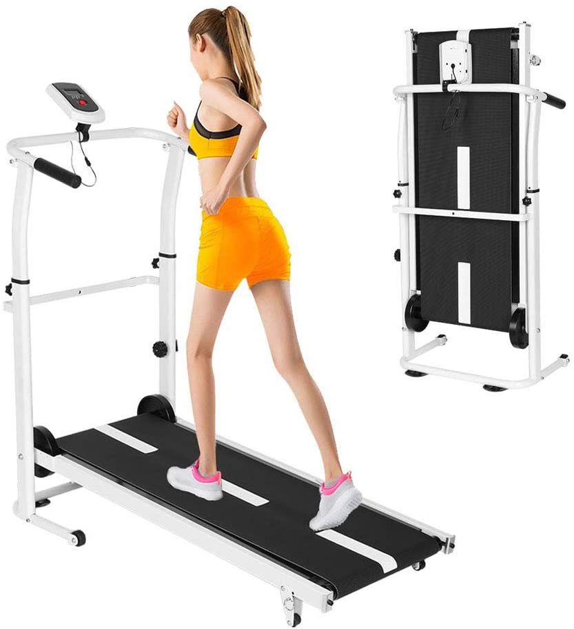 Manual Walking Treadmill with LCD Display, Compact Folding, Manual Running Jogging Walking Machine for Health/Fitness/Exercise