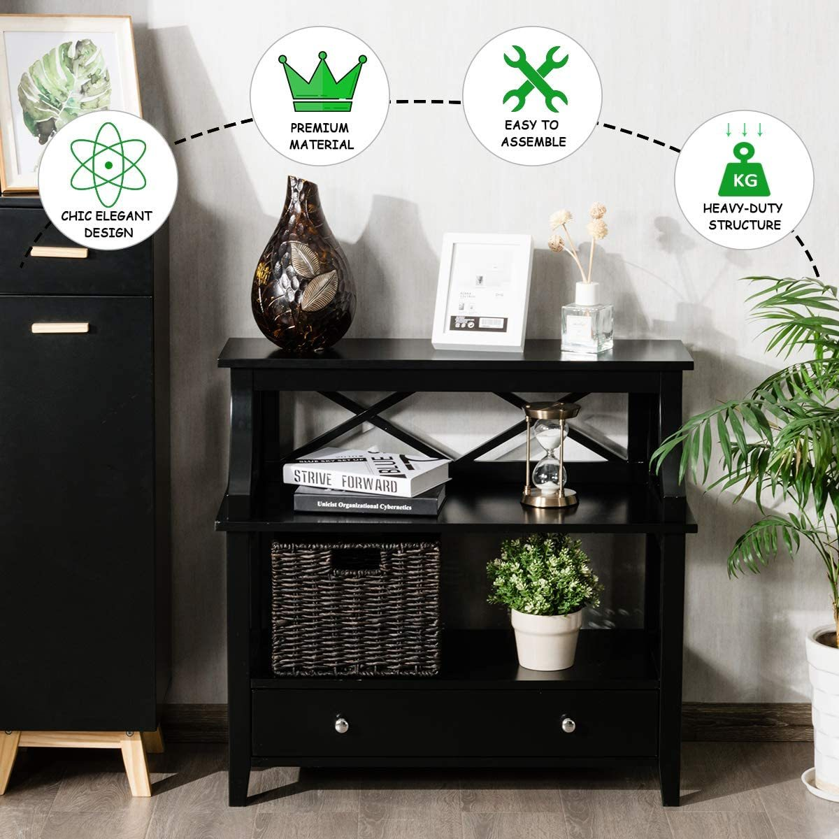 3 Tier Console Table with a Large Drawer, Sofa Side Table with Storage Shelves, Entryway Hall Table Furniture, Display Rack Stand for Living Room Bedroom Study, Easy Assembly (Black)