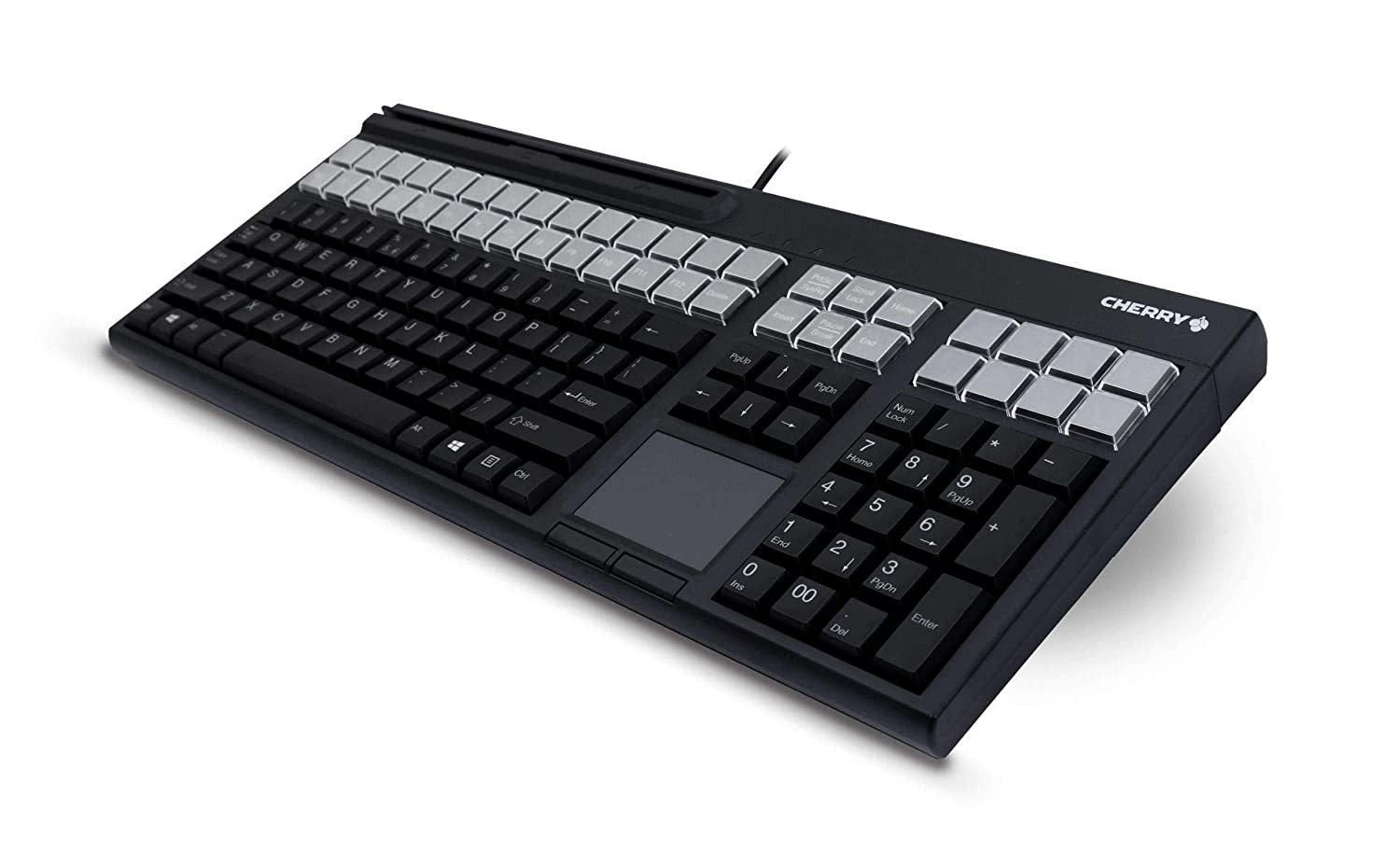 "G86-71411EUADAA Keyboard, USB, 17"", 127 Programmable Keys, 3 Track Mag Stripe Reader, Touchpad, Cherry Tools, Black"