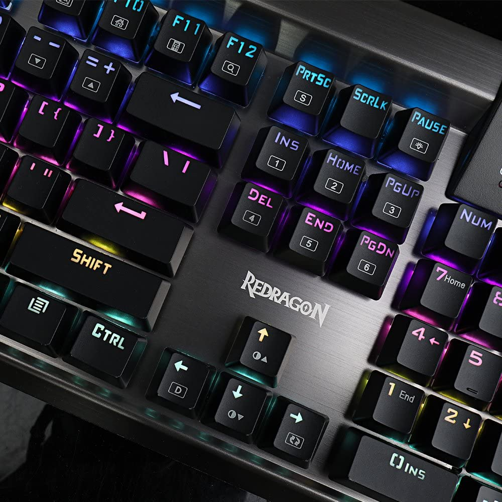 K563 Surya RGB LED Backlit Mechanical Gaming Keyboard 104 Keys Anti-ghosting with Macro Keys & Wrist Rest, Onboard Macro Recording (Blue Switches)