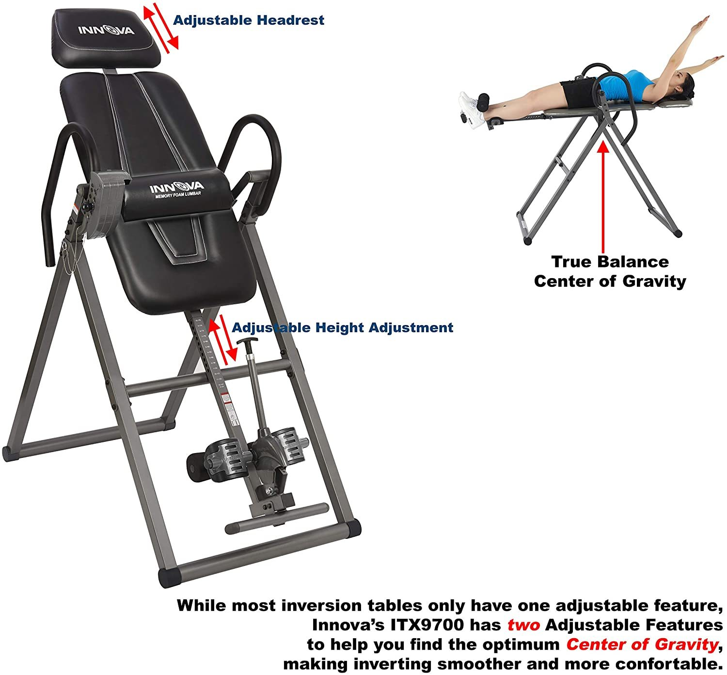 ITX9700 Inversion Table with Memory Foam Lumbar Pad