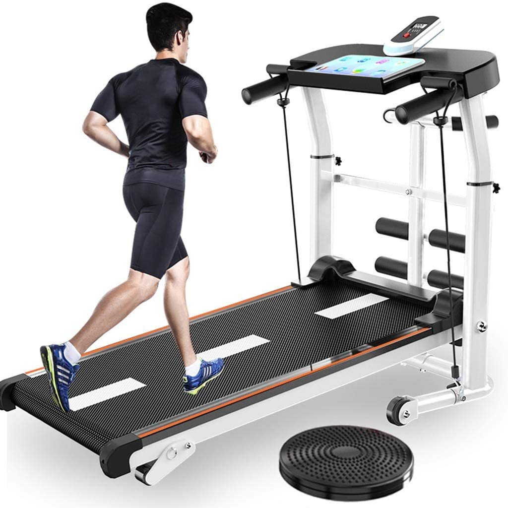 Folding Mechanical Treadmill Shock Running Supine T-wisting Draw Rope 4-in-1 Home Indoor Sports
