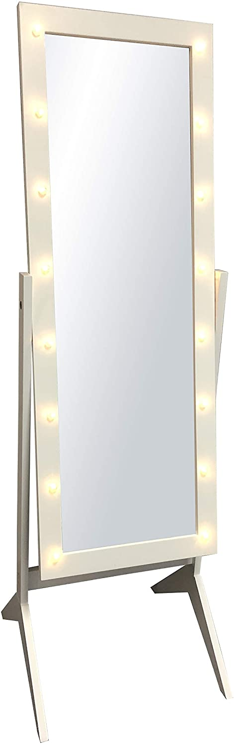 White Finish Led Lights Wooden Cheval, White Floor Mirror With Lights
