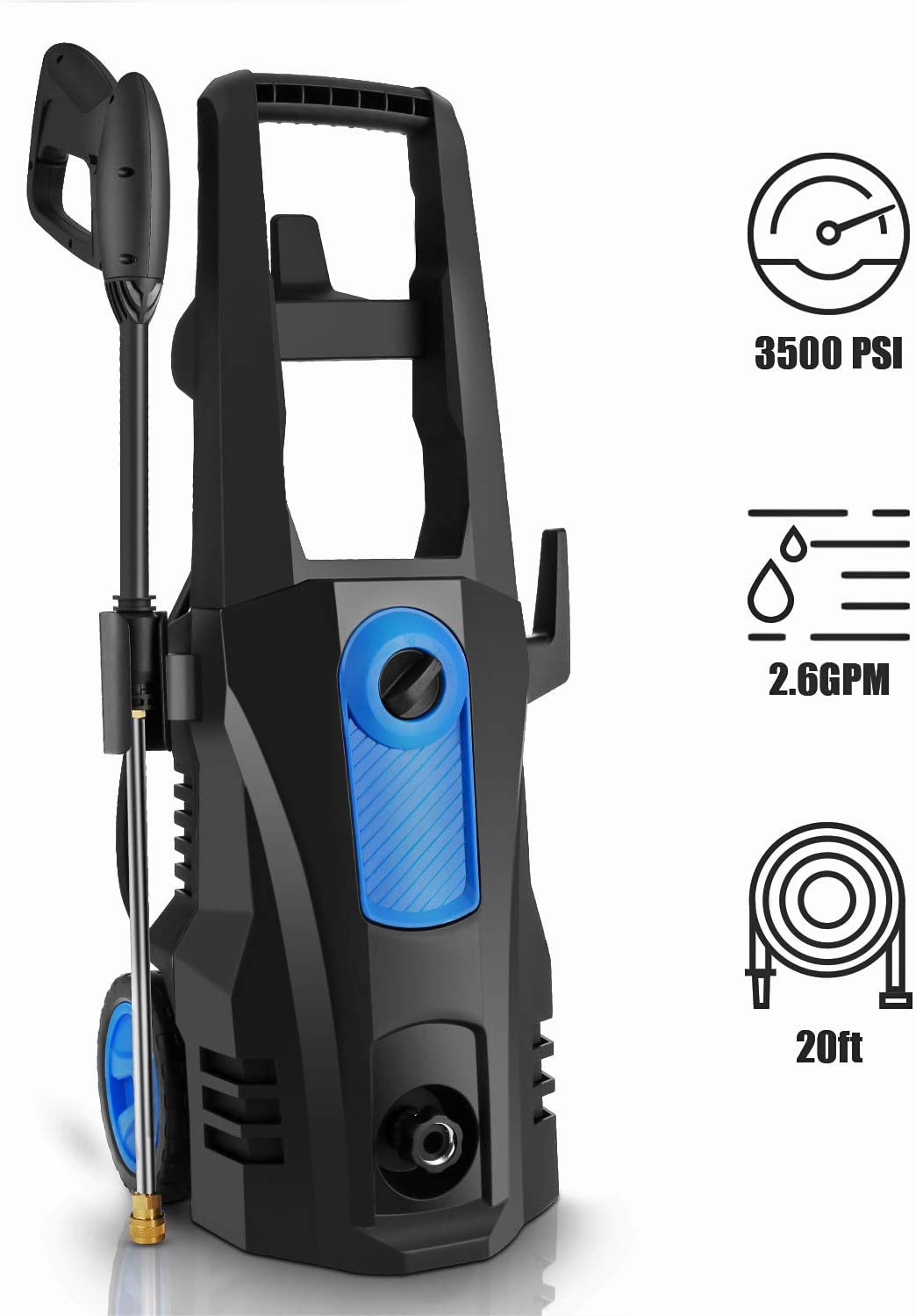 TEANDE 3500 PSI Electric Pressure Washer Blue 2.60 GPM 1800W Power Washer with Rolling Wheels
