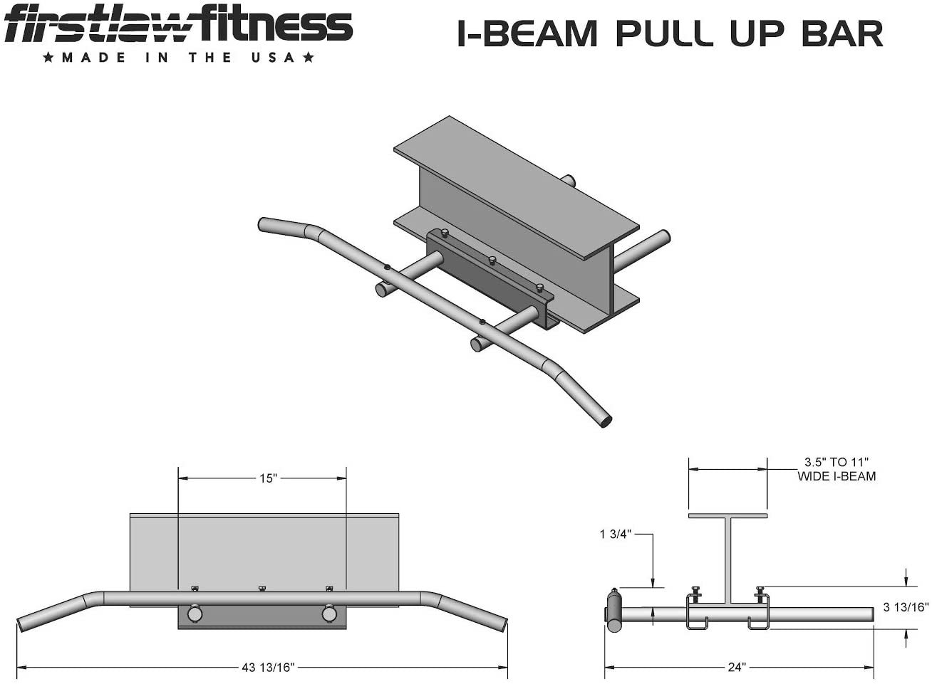 600 LBS Weight Limit - I-Beam Pull Up Bar - Long Bar with Bent Ends - Durable Rubber Grips - Red Label - Made in The USA!
