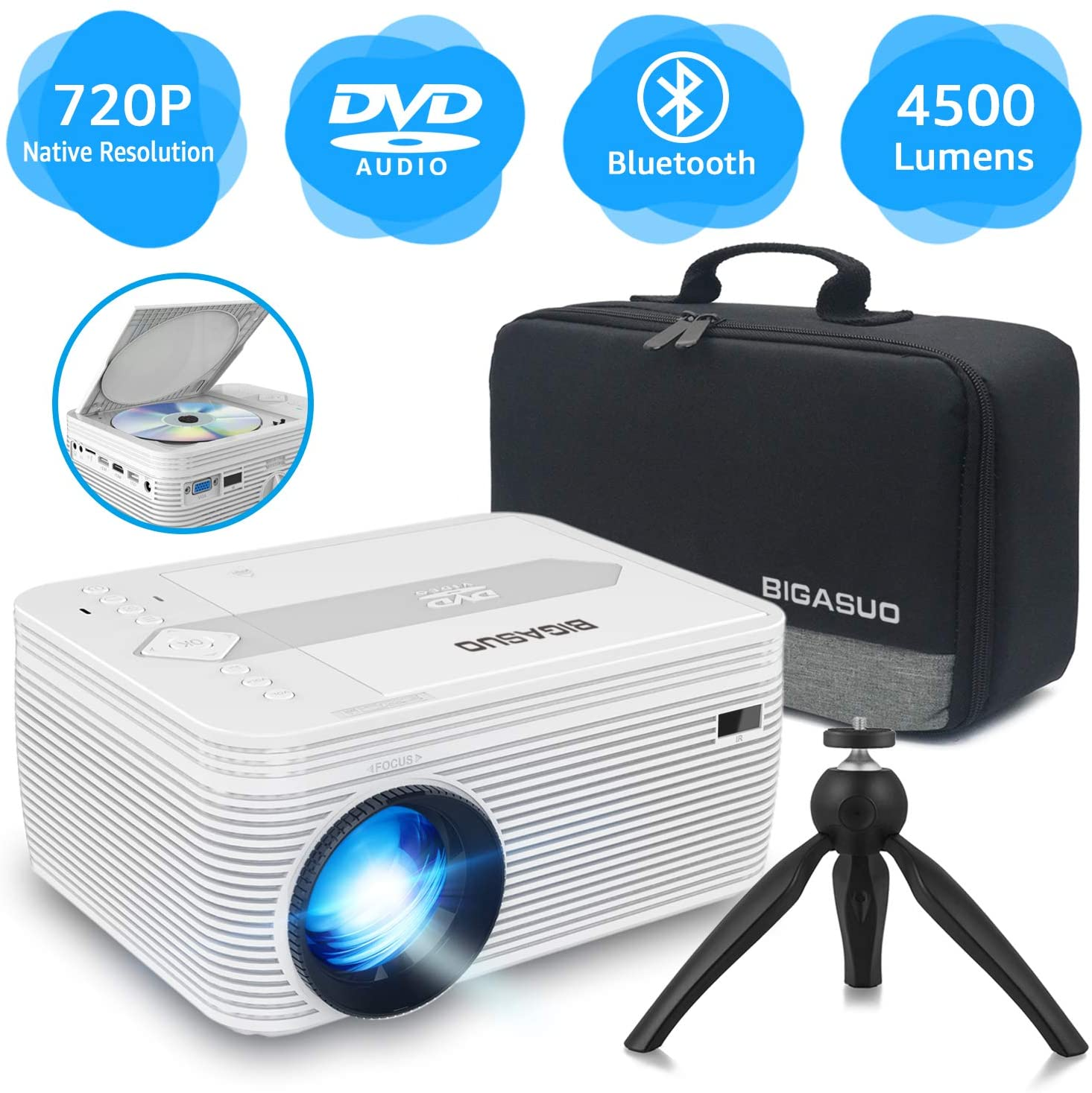 [2020 Upgrade] Bluetooth Full HD Projector Built in DVD Player, Portable Mini Projector 4500 Lumens Compatible with iPhone/iPad/TV/HDMI/VGA/AV/USB/TF SD Card, 720P Native 1080P Supported