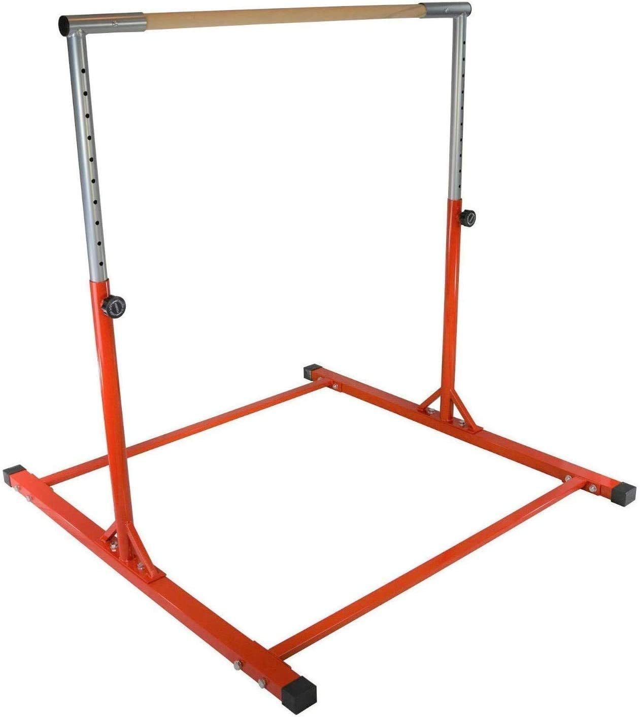 Athletic Bar Kids Gymnastics Junior Horizontal Kip Bar 3 to 5 FT Training Jungle Gym Expandable Adjustable Height 3 to 5 FT Red Tumble Weight Capacity 300 Pounds