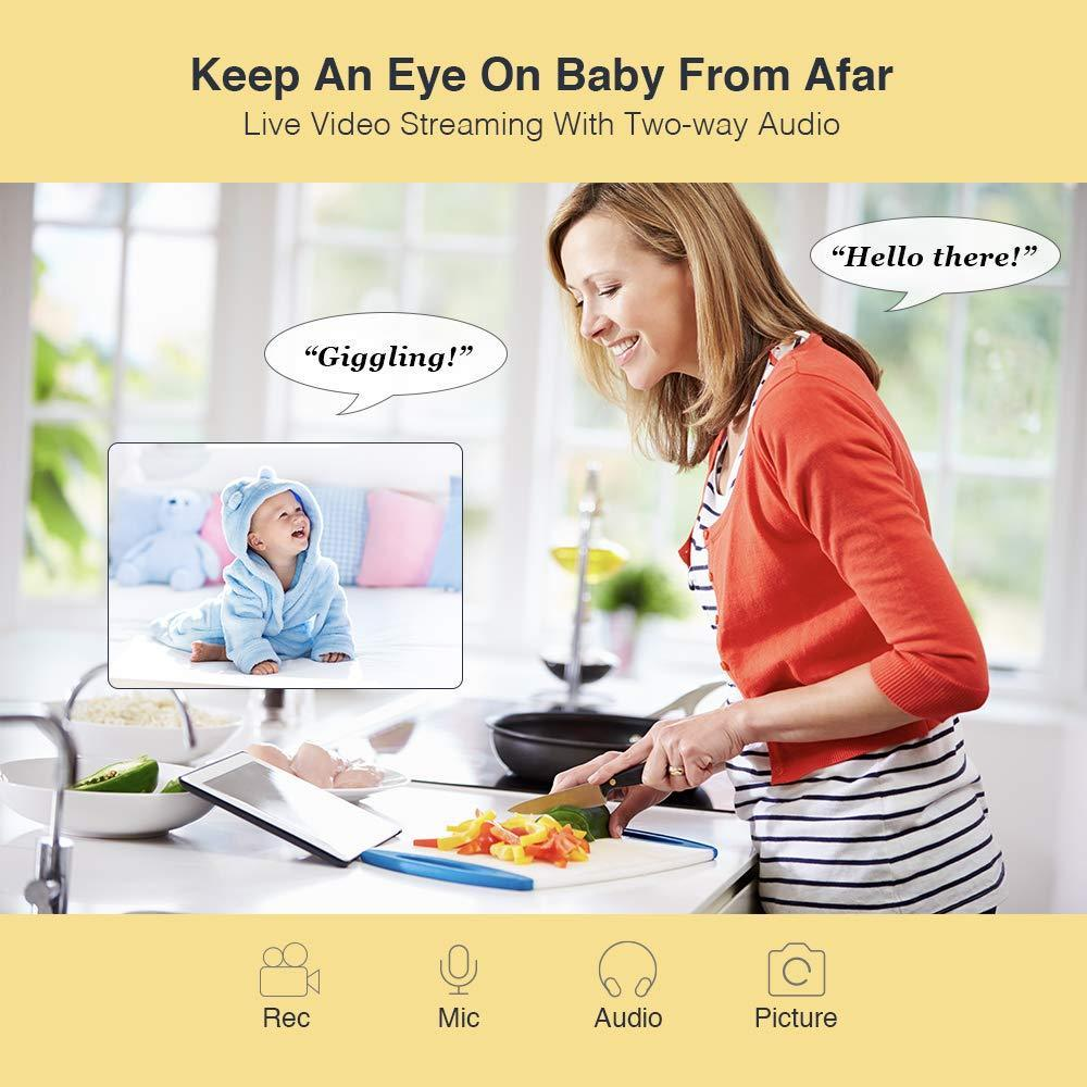 Hugo Baby Cam 1080P HD with Amazon Alexa Skill, Two-Way Audio, Lullaby Player, Surveillance Camera with Remote Viewing Pan/Tilt/Zoom Night Vision Detect for Home/Shop/Office