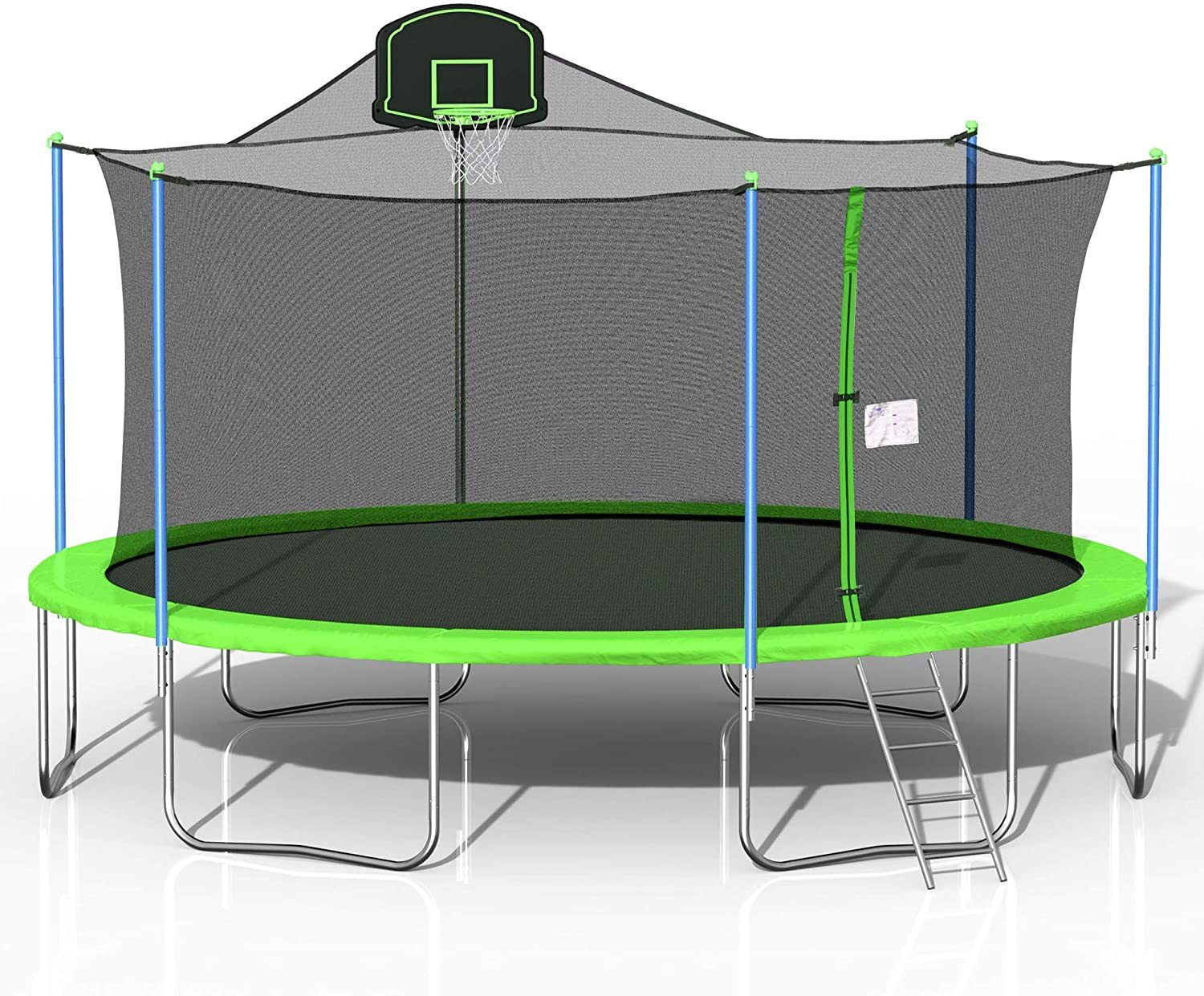 Round 16FT Trampoline Jumping Table with Safety Enclosure Net Spring Pad Combo Bounding Bed Trampoline Fitness Equipment, Outdoor Indoor Trampoline with Basketball Hoop Ladder Safety and Pads Top Safe
