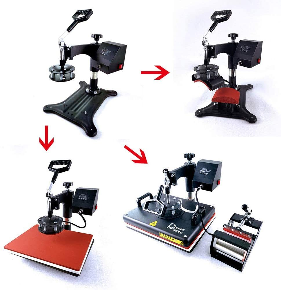 "Factory CE 12""x15"" Combo 5 in 1 Heat Press Machine, Sublimation DIY T-Shirt/Hat/Mug/Plate/Cap and More, Swing Away Digital Multifunction Heat Transfer Presses (5in1, 12x15"")"