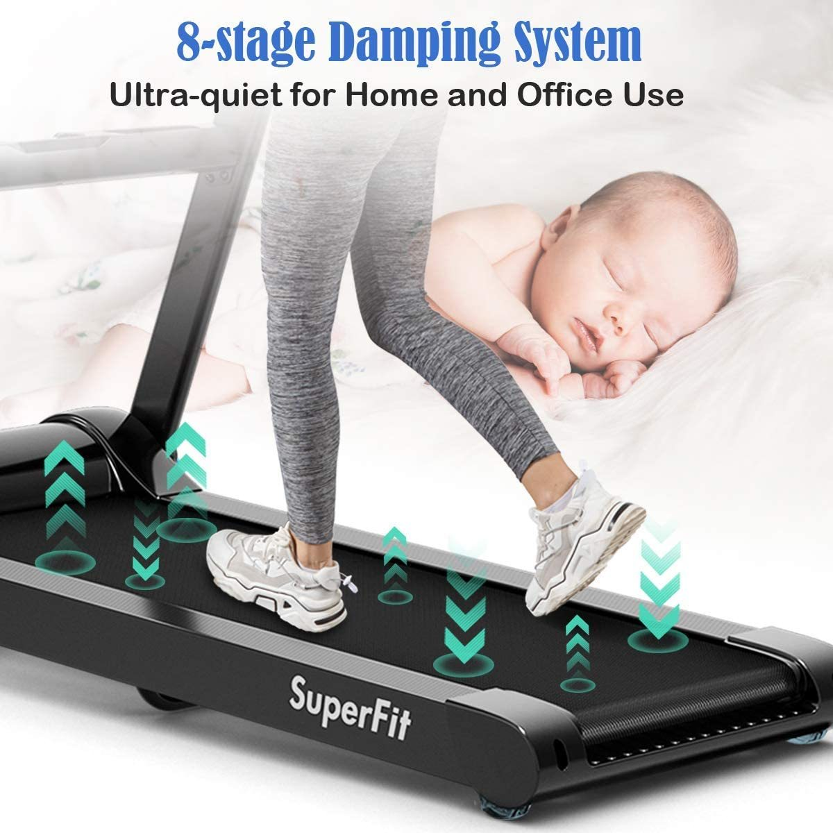 2.25HP Large Electric Folding Treadmill, with 8-Stage Damping System, Large LED Touch Display and Bluetooth Speaker, Sports Car Appearance Running Walking Machine for Home Office Gym Use