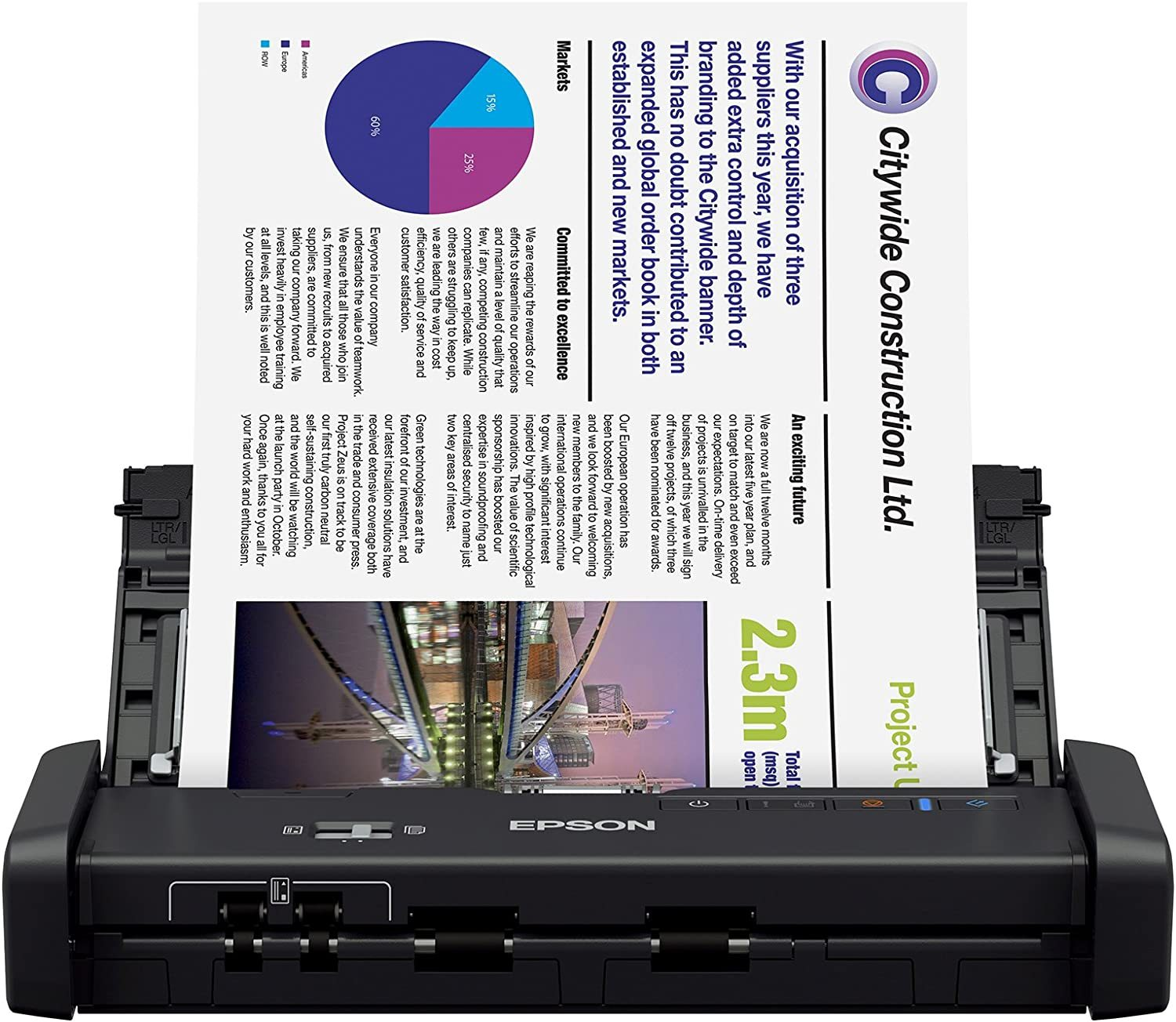 Workforce ES-300W Wireless Color Portable Document Scanner with ADF for PC and Mac, Sheet-fed and Duplex Scanning