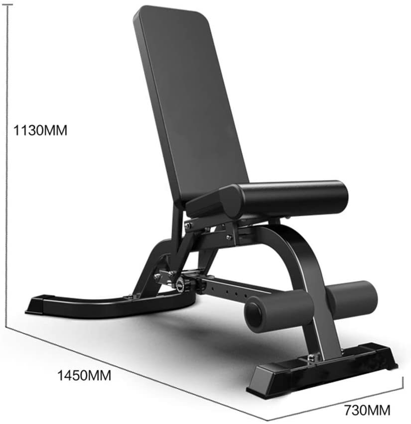 Sit Up Bench Multi-function Adjustable Dumbbell Bench, Abdominal Muscle Training Supine Board For Men And Women In The Gym, Fitness Chair, Bearing 300kg ( Color : Black , Size : 14574113cm )