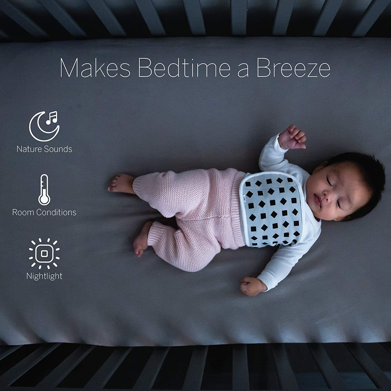 Plus - Smart Baby Monitor and Wall Mount: Camera with HD Video & Audio - Sleep Tracking - Night Vision - Temperature & Humidity Sensors and Two-Way Audio