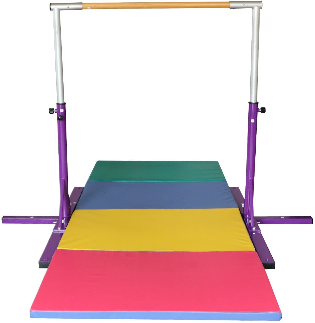 Purple Adjustable (3'-5') Horizontal Kip Bar for Kids,10ft Folding Mat Combo Gym Set