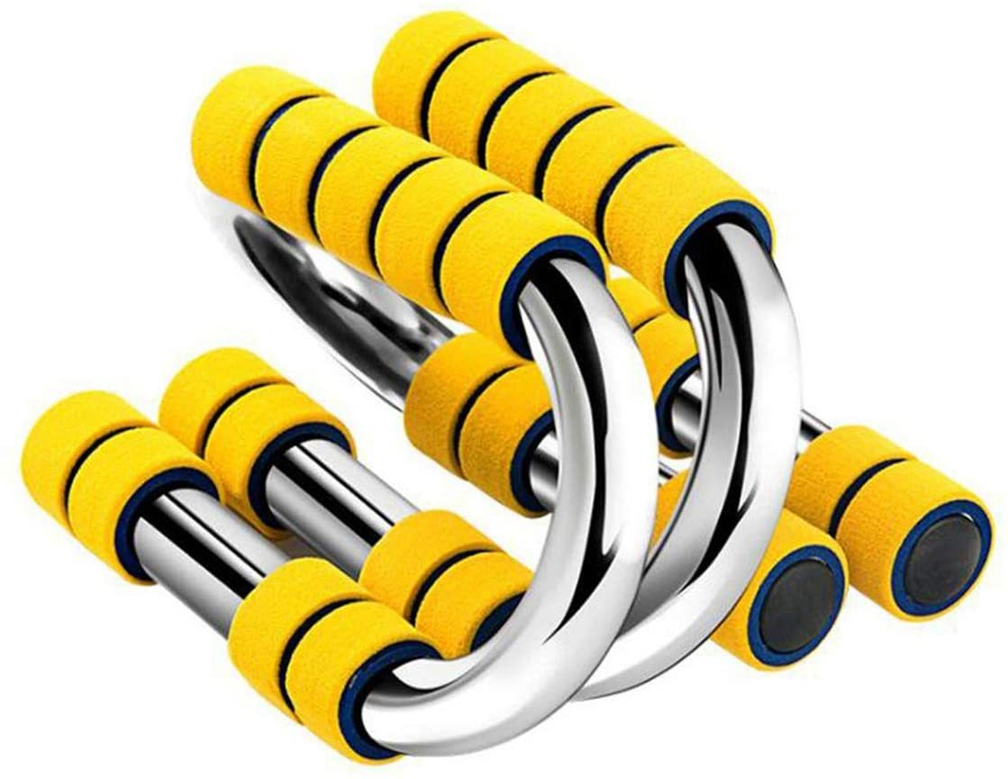 SHIYANLI 1-Pair S-Shaped Push-Up Bracket Non-Slip Foam Handle Muscle Building Chest Expander Bold Chrome-Plated Steel Pipe Yellow