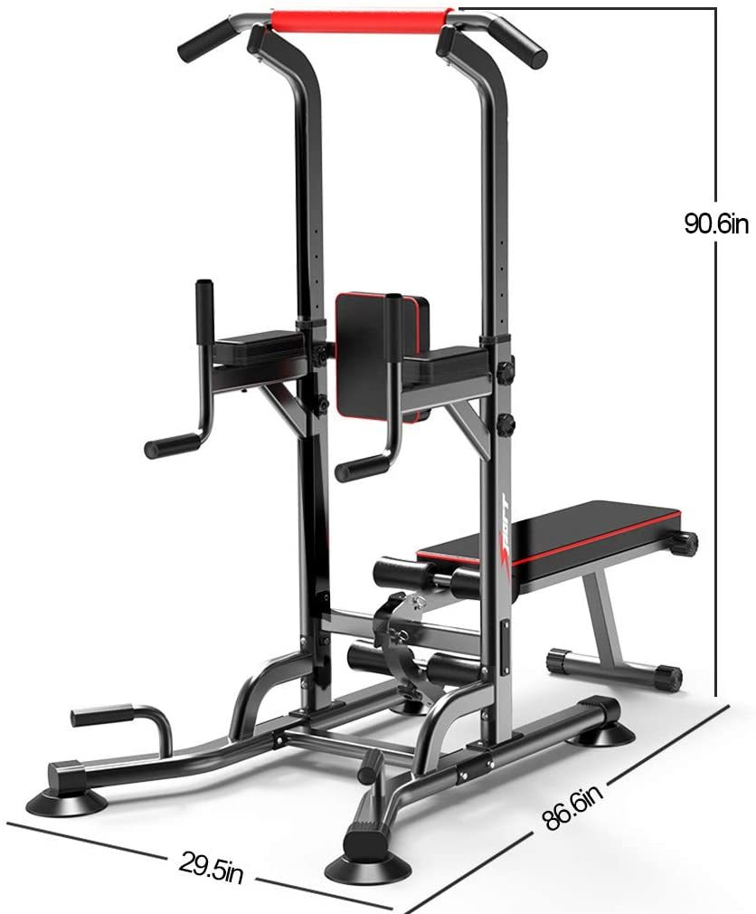 Power Tower Dip Station and Dumbbell Stool Pull-Ups Home Indoor Single Parallel Bars Weightlifting Barbell Bench Fitness Equipment Home Gyms
